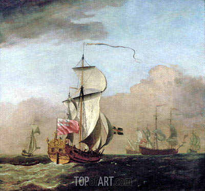 The Second Duke of Albemarle's Ketch with a Yacht to the Left and Three Warships in the Distance to the Right, undated | Willem van de Velde | Painting Reproduction