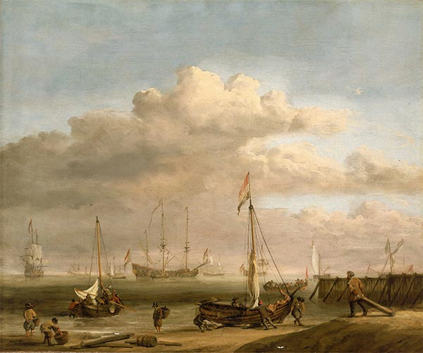 The Dutch coast with a weyschuit being launched and another vessel pushing off from the shore, c.1690 | Willem van de Velde | Painting Reproduction