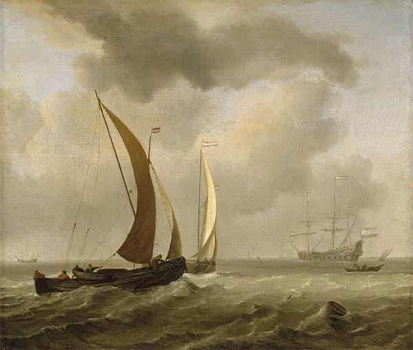 Two Kaags at Sea Before a Fresh Breeze, Undated | Willem van de Velde | Painting Reproduction