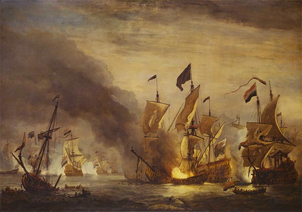 The Burning of the Royal James at the Battle of Solebay, 28 May 1672, c.1672 | Willem van de Velde | Painting Reproduction