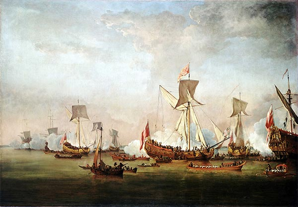 The Departure of William of Orange and Princess Mary for Holland, November 1677, c.1677 | Willem van de Velde | Painting Reproduction