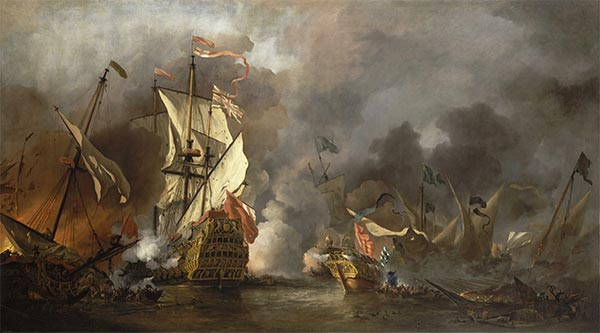 An English Ship in Action with Barbary Vessels, 1678   Willem van de Velde   Painting Reproduction
