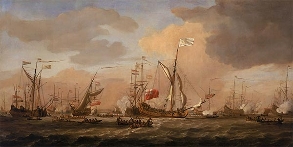 The Mary, Yacht, Arriving with Princess Mary at Gravesend in a Fresh Breeze, 12 February 1689, c.1689 | Willem van de Velde | Painting Reproduction