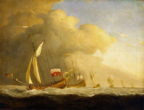 English Royal Yachts at Sea, in a Strong Wind in Company with a Ship Flying the Royal Standard, 1689   Willem van de Velde   Painting Reproduction