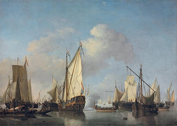 A States Yacht and other Vessels in a Very Light Air, Undated | Willem van de Velde | Painting Reproduction