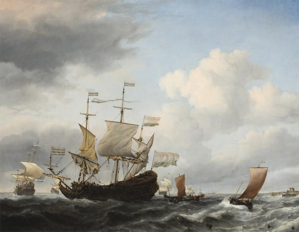 A Dutch Flagship Coming to Anchor, 1672 | Willem van de Velde | Painting Reproduction