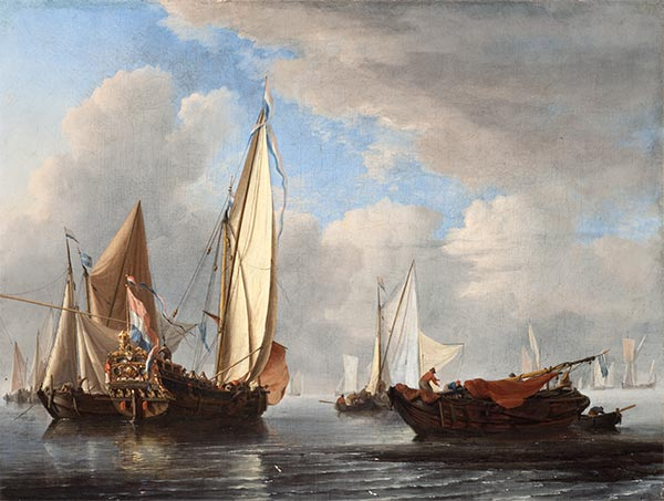 A Yacht and Other Vessels in a Calm, 1671 | Willem van de Velde | Painting Reproduction
