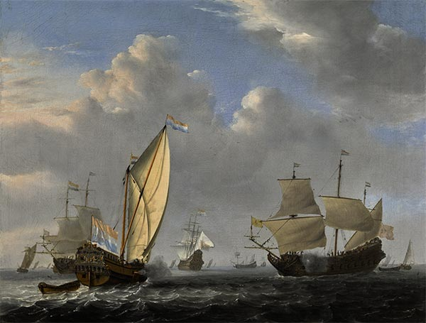 A States Yacht from the Admiralty of Amsterdam, 1654 | Willem van de Velde | Gemälde Reproduktion