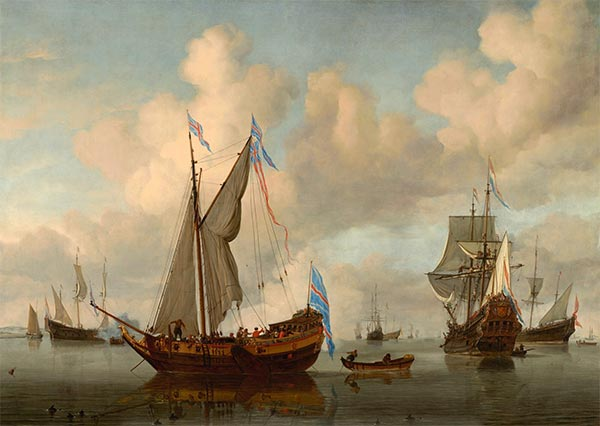 The English Royal Yacht Mary about to Fire a Salute, 1660   Willem van de Velde   Painting Reproduction