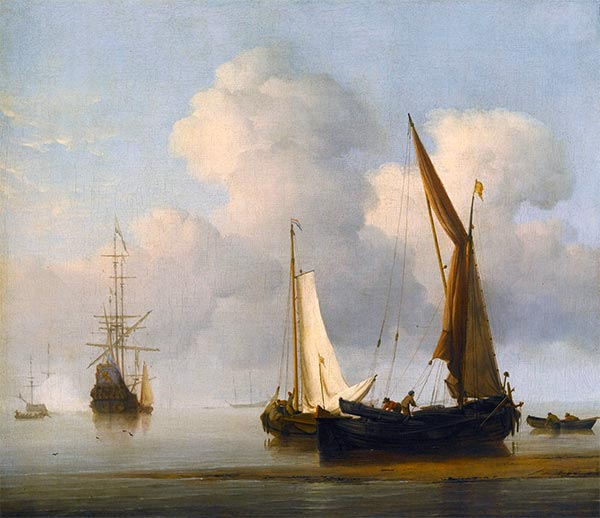 A Calm Sea with a Kaag and a Boeier Close in to the Shore, Undated | Willem van de Velde | Painting Reproduction