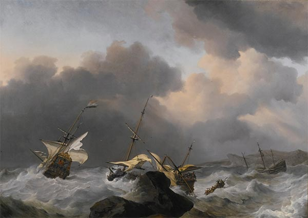 The Jupiter and another Dutch Ship Wrecked on a Rocky Coast, Undated   Willem van de Velde   Painting Reproduction