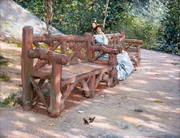 Park Bench, c.1890 von William Merritt Chase | Gemälde-Reproduktion