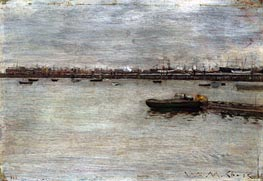 East River, c.1870/85 by William Merritt Chase | Painting Reproduction