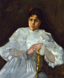 Girl in White, c.1890 by William Merritt Chase | Painting Reproduction