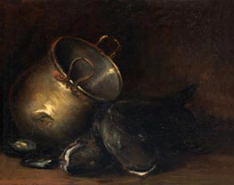 Still Life - Brass Kettle and Catfish, undated by William Merritt Chase | Painting Reproduction