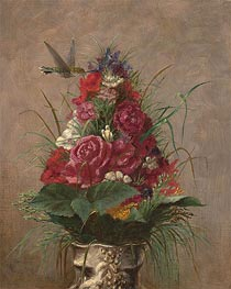 Floral Still Life with Hummingbird, 1870 by William Merritt Chase | Painting Reproduction