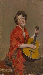 Girl with Guitar | William Merritt Chase | Gemälde Reproduktion