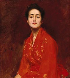 Girl in Japanese Dress | William Merritt Chase | Painting Reproduction