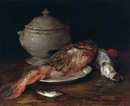 Still Life (Fish from the Adriatic), c.1907/14 by William Merritt Chase | Painting Reproduction