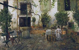 Courtyard in Venice, 1877 by William Merritt Chase | Painting Reproduction