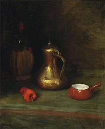 Still Life with Bottle, Carafe, Pot and Red Pepper | William Merritt Chase | Painting Reproduction