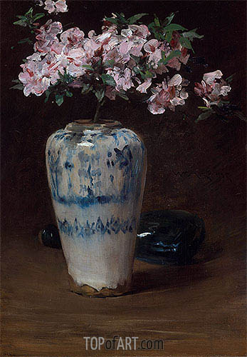Pink Azalea-Chinese Vase, c.1880/90 | William Merritt Chase | Gemälde Reproduktion