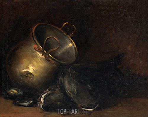 Still Life - Brass Kettle and Catfish, undated | William Merritt Chase | Painting Reproduction