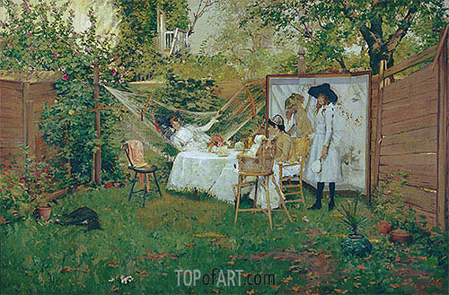 The Open Air Breakfast, c.1888 | William Merritt Chase | Painting Reproduction