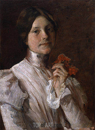 Young Woman with Red Flowers, 1904 | William Merritt Chase | Painting Reproduction