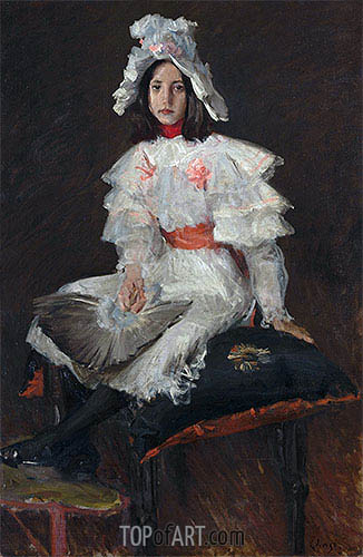 Young Girl in White (Alice Chase, the Artist's Daughter), undated | William Merritt Chase | Painting Reproduction
