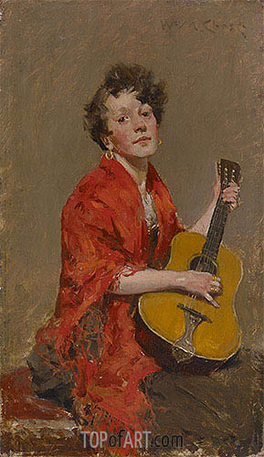 Girl with Guitar, c.1886 | William Merritt Chase | Gemälde Reproduktion