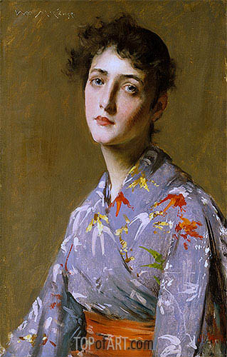 Girl in a Japanese Costume, c.1890 | William Merritt Chase | Painting Reproduction