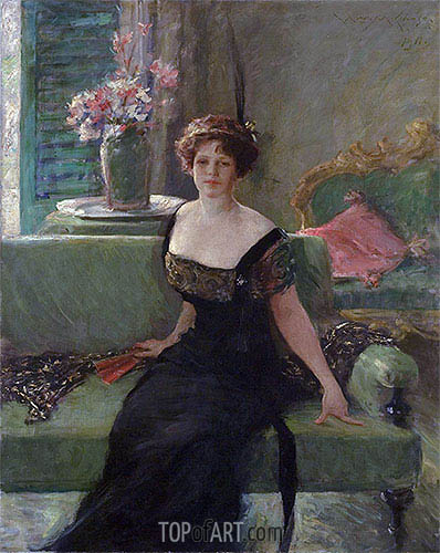 Portrait of a Lady in Black (Annie Traquair Lang), 1911 | William Merritt Chase | Gemälde Reproduktion