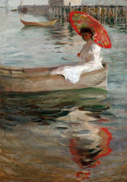Woman with Crimson Parasol, undated | William Merritt Chase | Painting Reproduction