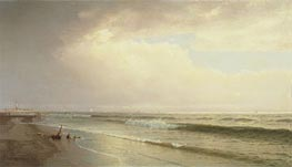 Seascape with Distant Lighthouse, Atlantic City, New Jersey, 1873 von William Trost Richards | Gemälde-Reproduktion