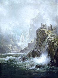 The Ruins of Fast Castle, Berwickshire, Scotland, 1892 by William Trost Richards | Painting Reproduction