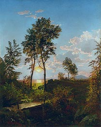 Wooden Bridge at Sunset, 1862 by William Trost Richards | Painting Reproduction