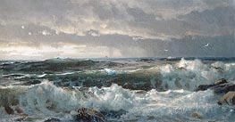 Surf on Rocks, c.1890/99 by William Trost Richards | Painting Reproduction