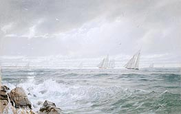 Yachts Off Newport, 1877 by William Trost Richards | Painting Reproduction