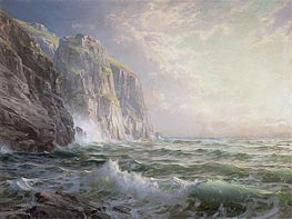 Rocky Cliff with Stormy Sea, Cornwall, 1902 by William Trost Richards | Painting Reproduction
