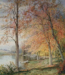 Autumn by a Pond, 1874 von William Trost Richards | Gemälde-Reproduktion