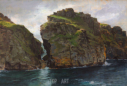 Near Tintagel, Cornwall, c.1890/99 | William Trost Richards | Gemälde Reproduktion