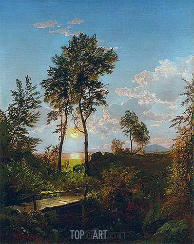 Wooden Bridge at Sunset, 1862 | William Trost Richards | Painting Reproduction