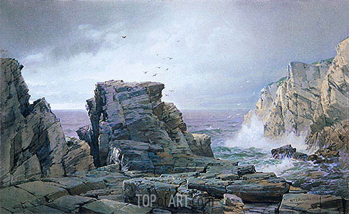 A Rocky Coast, 1877   William Trost Richards   Painting Reproduction