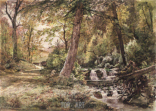 Landscape with Stream and Road, Chester County, c.1886 | William Trost Richards | Gemälde Reproduktion