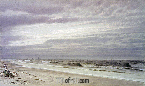 Beach Scene with Barrel and Anchor, 1870 | William Trost Richards | Gemälde Reproduktion