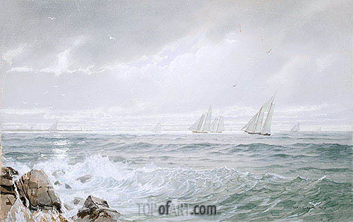Yachts Off Newport, 1877 | William Trost Richards | Gemälde Reproduktion
