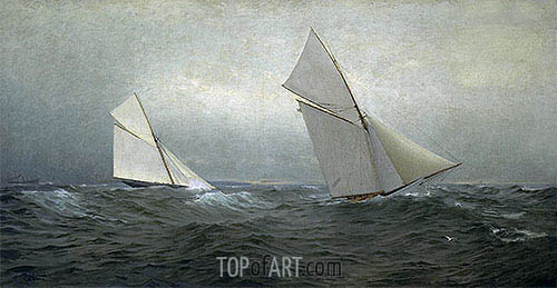 20 Miles to Windward (1885 America's Cup Race), 1885 | William Trost Richards | Gemälde Reproduktion