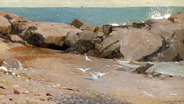 Rocky Coast and Gulls, 1869 von Winslow Homer | Gemälde-Reproduktion