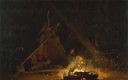 Camp Fire, 1880 von Winslow Homer | Gemälde-Reproduktion